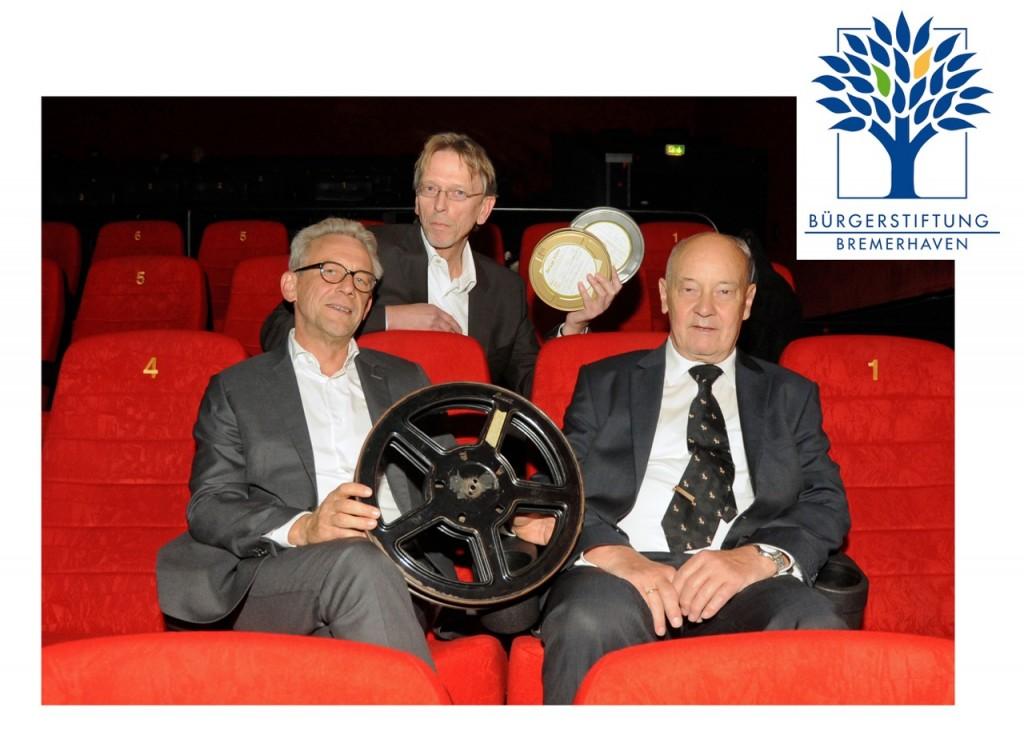 Foto: Uwe Perl, Bürgerstiftung Bremerhaven, Bernd Glawatty 1. Vorsitzender Kommunales Kino Bremerhaven, Dr. Henning Hübner, Bürgerstiftung Bremerhaven